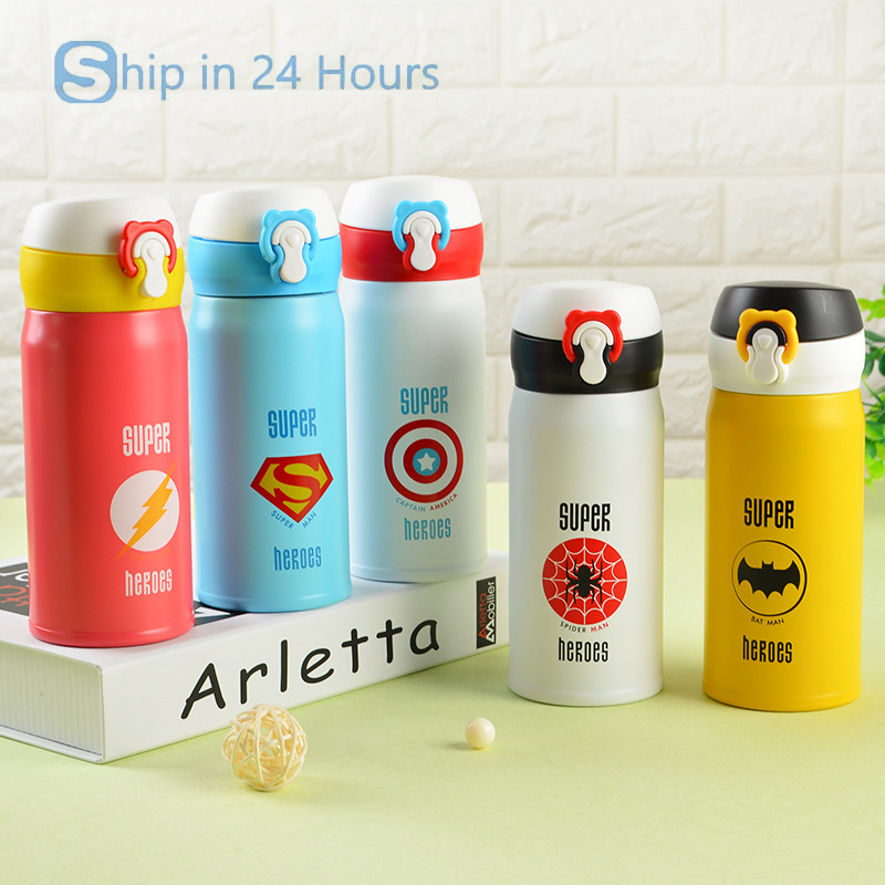 350ML High Quanlity Thermos Vacuum Stainless Steel <font><b>Water</b></font> <font><b>Bottle</b></font> For Kids Super <font><b>Hero</b></font> Superman <font><b>Spiderman</b></font> Thermos <font><b>Bottle</b></font>