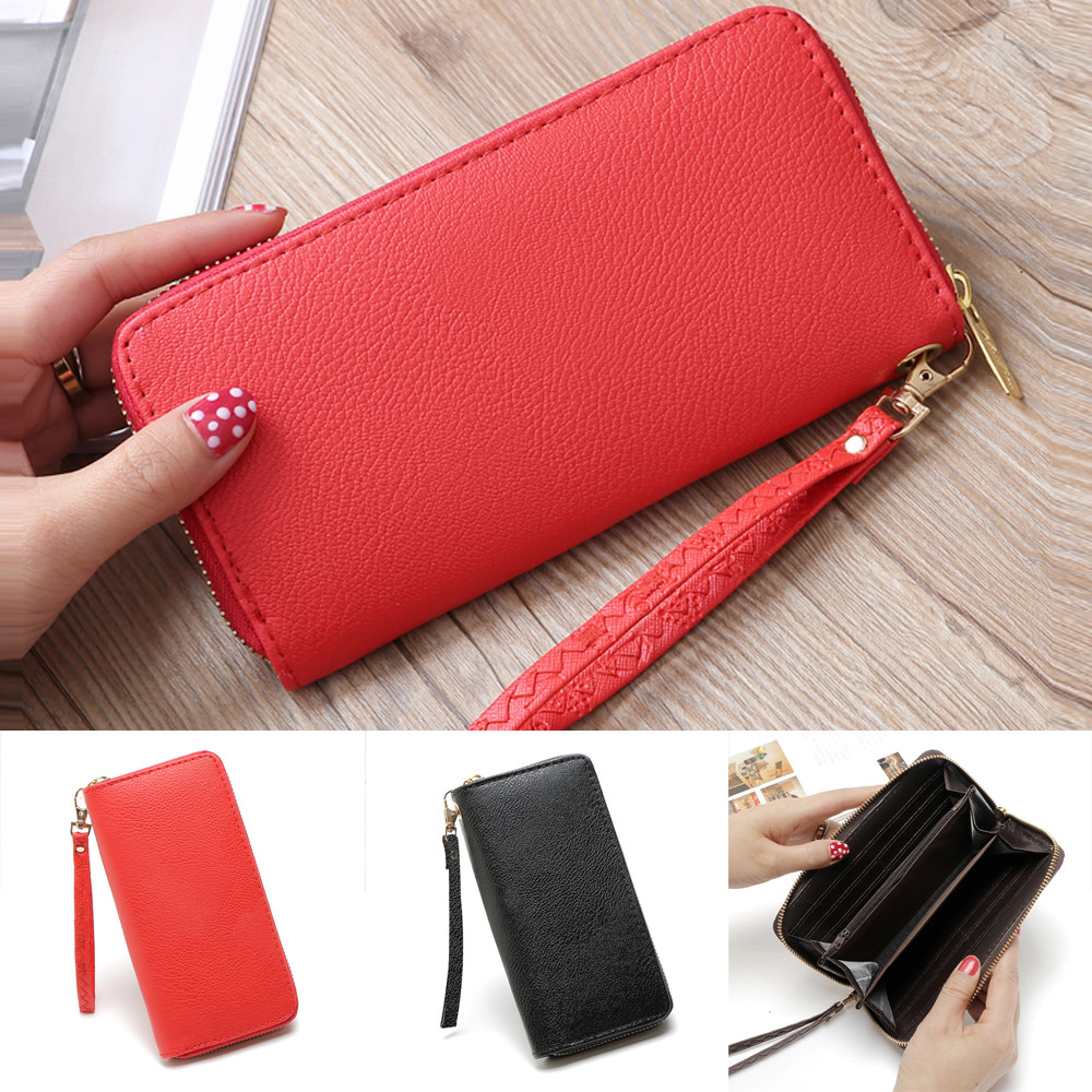 Fashion Women Lichee Pattern Road Wallet Coin Bag Purse Phone Bag Wholesale&Dropshipping Free delivery 1