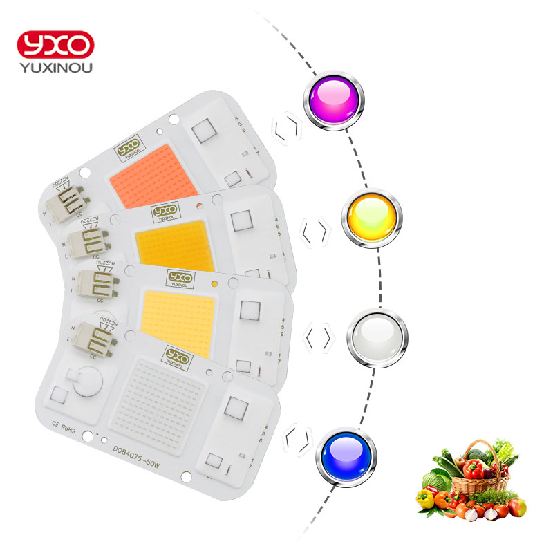 1pcs Hydroponice AC 220V 20w 30w 50w Cob Led Grow Light Chip Full Spectrum 380nm-780nm For Indoor Plant Seedling Grow And Flower