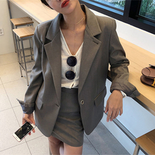 Suit set 2019 summer new womens fashion two-piece professional slim black small suit jacket temperament skirt