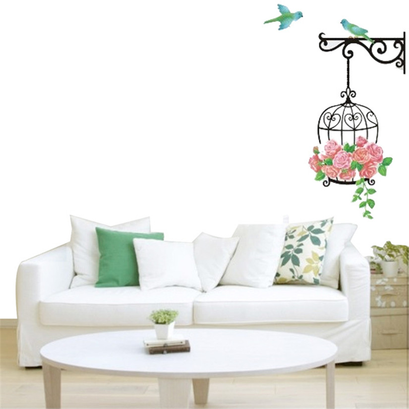 New Qualified Natural Style Photo Frame Decorative Wallpaper Bedroom Hallway Creative Stickers Birdcage Wall Stickers Dig632