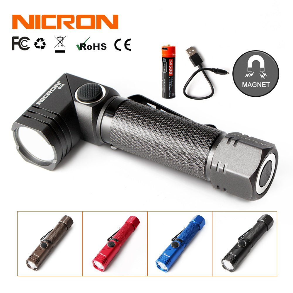 NICRON Rechargeable Twist Flashlight 4 Colors 600 Lumens Waterproof IP65 USB Charging Corner Light Mini Portable LED Torch B74