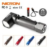 NICRON Rechargeable Twist Flashlight 4 Colors 480 Lumens Waterproof IP65 USB Charging Corner Light Mini Portable LED Torch B74