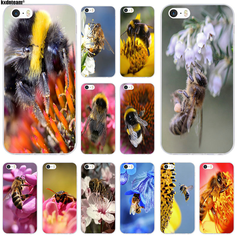Lovely Bees Picking Nectar Soft Silicone Clear TPU Phone Cases Cover for iPhone 6 6S 7 8 Plus 4 5S 5C SE X Coque Fundas Shell