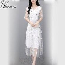 ae5fb23f9d Lato Lady długi strój koronkowy 2019 nowy koreański mody kobiet krótki  rękaw haftować sukienki czarny