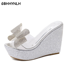 Купить с кэшбэком GBHHYNLH Bowtie Woman Beach flip flops flower Summer pom pom sandals clear shoes Slippers Platform rhinestone sandals LJA337