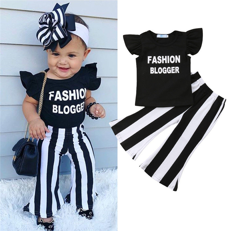 Toddler Girls Kids clothes round neck sleeveless Ruffle letter print pullover T-Shirts striped Trousers 2p cotton Baby Outfits(China)