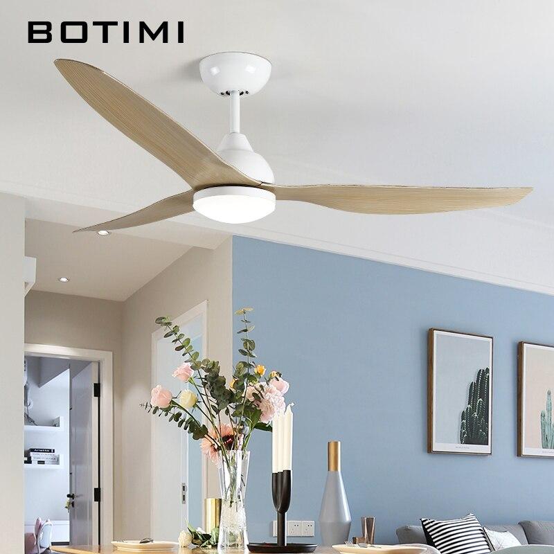 Polegada 52 BOTIMI Nova Chegada LEVOU Luzes Do Ventilador Controle Remoto Ventilador de Teto Moderno Lâmpadas Ventilador de Refrigeração Ventiladores de Teto Para Casa Iluminação Luminárias