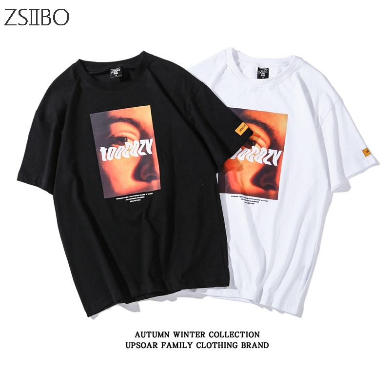 Self TooCory Patchwork Print 100% Cotton T-Shirt Street Hip Hop Short Sleeve Top T-Shirt Large Size Loose Skateboard T-Shirt
