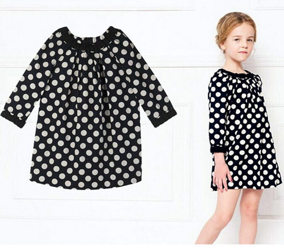2017 Hot sale Fashion girls Summer Dress Baby girls dress Kids Toddler Girls Princess Dress Full sleeve Polka Dots Bowknot Party ...