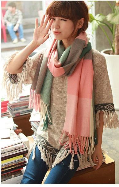 colores mujeres de moda casual clido chal de cachemira bufanda larga a cuadros bufanda