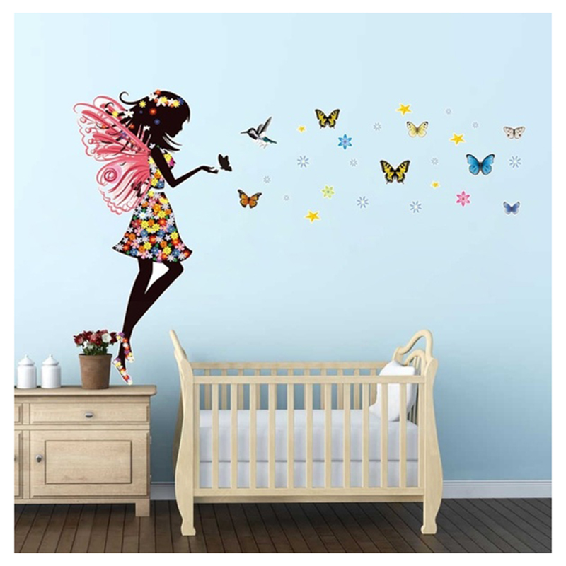 practical angel fairy butterfly wings beautiful girl colorful wall