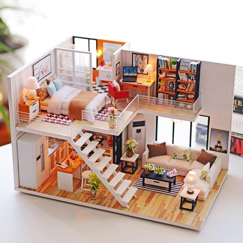 Decoración de madera DIY casa de muñecas Miniatura artesanía con ...