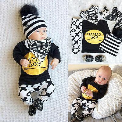 Cute 2PCS Newborn Kids Baby Boy T-shirt Tops+Long Pants Outfits Set Tracksuit