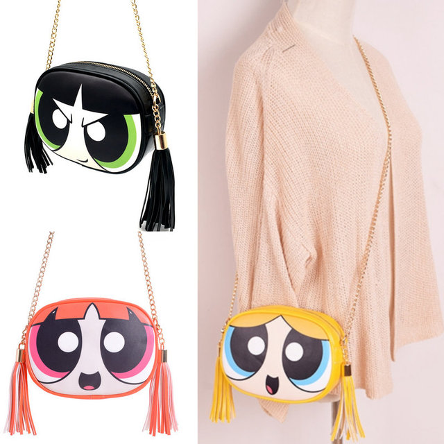 bee3bf6d17 Powerpuff Girls cute fashion design and good quality chain shoulder bag  messenger bag flap ladies handbag clutch purse 3 colors