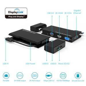 Image 5 - Full HD 2K комбинированная мини Док станция, USB 3,0 концентратор, устройство для чтения SD карт, гигабитный Ethernet хаб, мульти дисплей, HDMI/VGA, для Mac Window