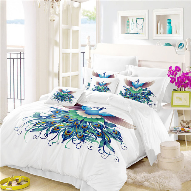 Bed Sheets Cotton The Peacock Display Feathers Bedding Set Comforter  Bedding Sets Drop Shipping A7