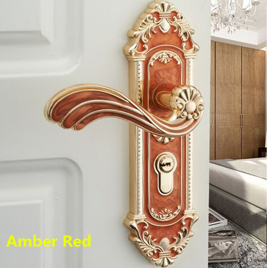 European-style door lock interior bedroom household machinery door handle solid wooden door lock mute door amber red white lock european style retro quiet mechanical interior door lock ivory white bedroom study kitchen bathroom solid wood door lock handle