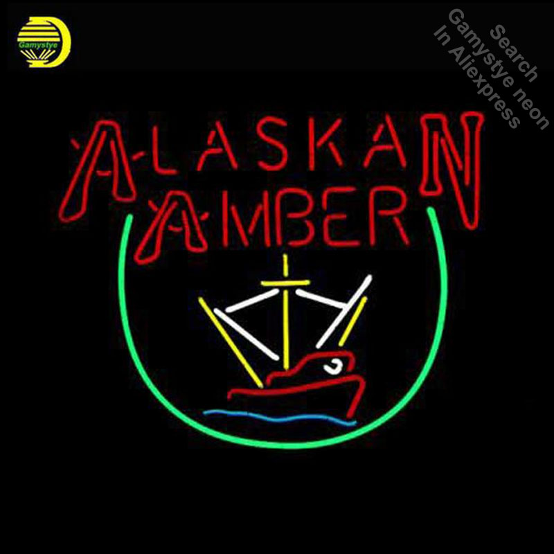 Alaskan Amber Trawler Neon Sign Neon Bulb Sign Handmade Light Room Recreation Decor Glass Tube Handcraft Affiche indoor lamps