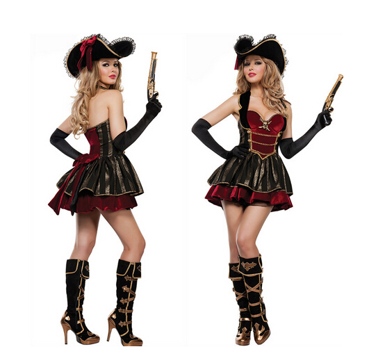 adult carnival cosplay party pirates of the Caribbean sexy fancy clothes dress+hat+glove ...