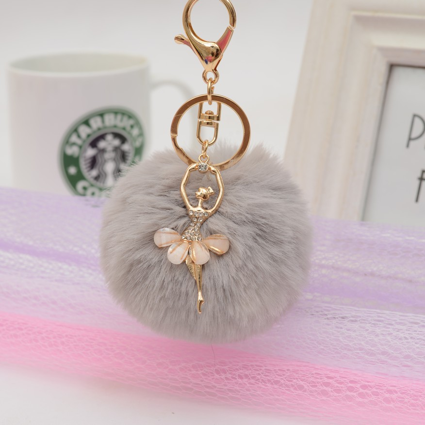ZOEBER Fake Rabbit Fur Ball KeyChain Gold Key Chain Pom Pom Key Rings Pompom Angel Girl Fourrure Pompon Women Bag Charms Jewelry pom pom ball applique rabbit print pullover