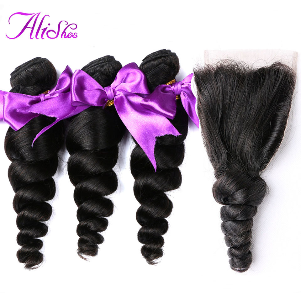 Alishes Hair Malaysian Loose Wave 3 Bundles with Closure Human Hair Weave Bundles With Closure Natural Color Remy Hair 4pcs/lot