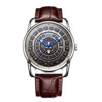 Swiss Watch Men Top Luxury Brand Retro Maya History Calendar Dial Luminous Stainless Steel Automatic Mechanical