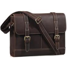 TIDING Vintage Style Men Designer Leather Bag Genuine Leather Cross Body Bags Portfolio Satchel Messenger Bag 1120