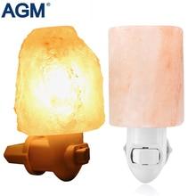 AGM de Sal Del Himalaya Lámpara de Luz Nocturna Cilindro Purificador De Aire Natural Roca Giratorio Lámpara de Noche Para Pasillo Dormitorio Decoración Para El Hogar