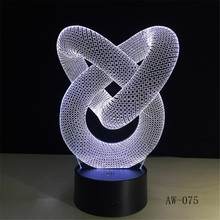 Love Knot Abstract 3D LED lamp 7 Colors Change Touch and Remote Control for Home Office Decor Table Night Lamp Unique Gift