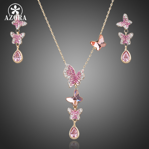 AZORA Lovely Butterfly Gold Color Stellux Austrian Crystal Necklace and Earrings Jewelry Set TG0057