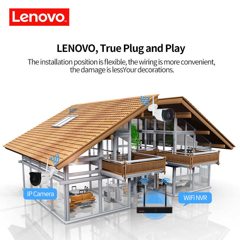 Lenovo Nirkabel Sistem CCTV 1080 P Kamera CCTV Outdoor 2MP 8CH NVR IP IR-CUT IP Sistem Keamanan Video Surveillance