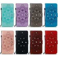 Jewelled PU Leather Case For OnePlus One Plus 7 Pro Flower Pattern Leather + Soft TPU Stand Cash Slot Case Cover Skin
