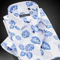 Summer 2017 Men's Short Sleeve Casual Leaves Print Shirt Square Collar Single Breasted Slim-fit Lightweight Cotton Men Shirts