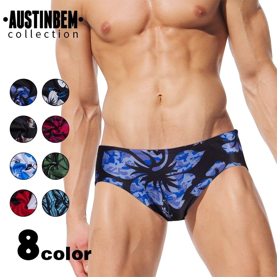 AUSTINBEM new sexy men swimming pants mens swim briefs explosion design printed beach swimsuit 2017 spa swimming suit 21805
