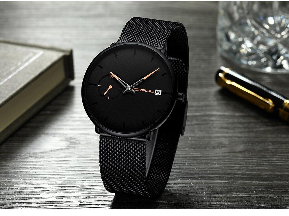 Crrju Sports Date Mens Watches Top Brand Luxury Waterproof Sport Watch Men Ultra Thin Dial Quartz Watch Casual Relogio Masculino 22