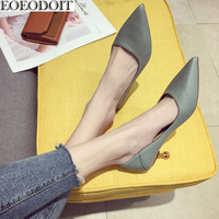 EOEODOIT Leather Pumps Shoes Women Med Thin Heel Shoes Summer Autumn Slip On Pointed Toe Metal Stiletto Low Heels Casual Pumps