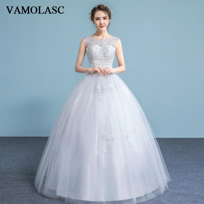 VAMOLASC Illusion Sequined O Neck Lace Appliques Ball Gown Wedding Dresses Bow Sash Tank Backless Bridal Gowns