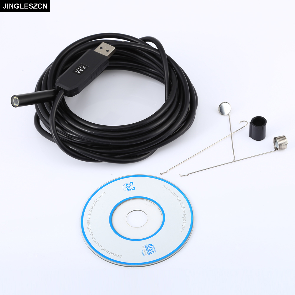JINGLESZCN USB Endoscope 9MM Mini Camera Lens 5M Hard Cable Inspection Borescope Waterproof IP67 Snake Video Cam Night Vision