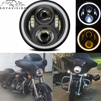 7 Inch 50W Round Motor Motorcycle LED Projectior Headlight Angle Eyes with Amber Halo Ring for Jeep Wrangler Harley Davidson s1000rr turn led lights