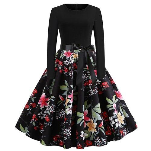 2019 new long-sleeved women's dress women's casual long dress Slim fashion pleated dress