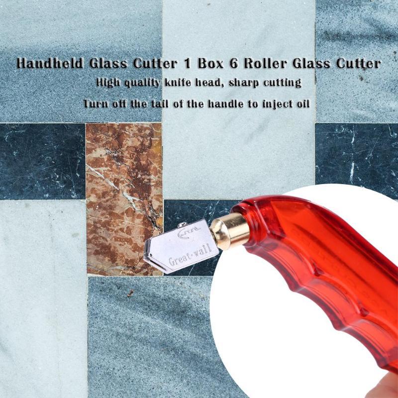 6pcs/box ABS Hand Grip Oiled Roller Glass Cutter Glass Cutting Tool Random