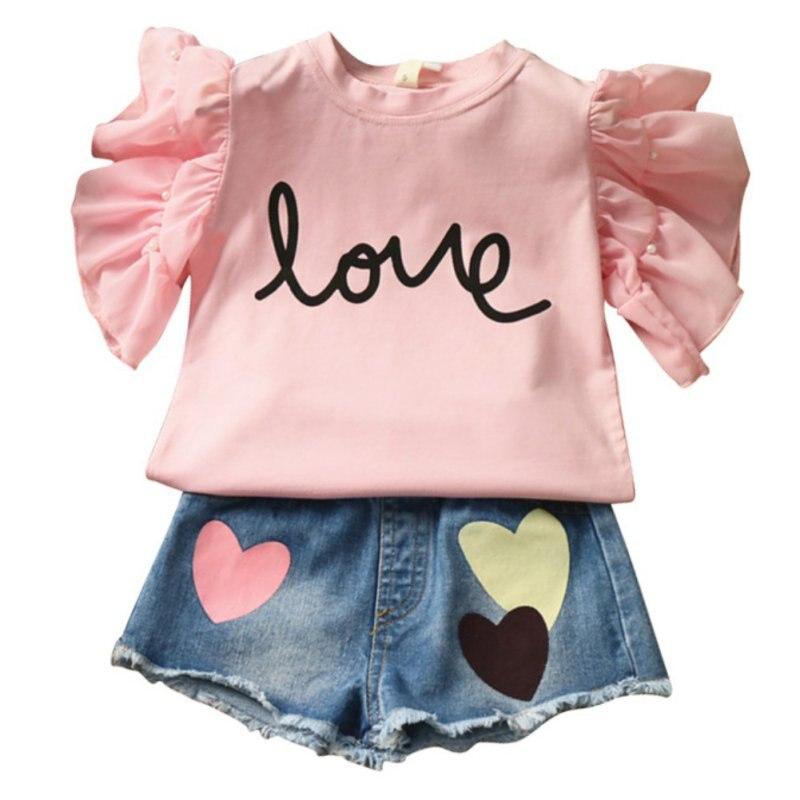 016cf965d الأبيض الوردي طفلة الحب إلكتروني طباعة قمم شيرت + شكل قلب الدنيم السراويل الاطفال  الأطفال ملابس