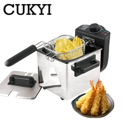Mini 1.5L household Electric Deep Fryer Stainless Steel single tank smokeless French fries chicken Frying pot and Basket Machine