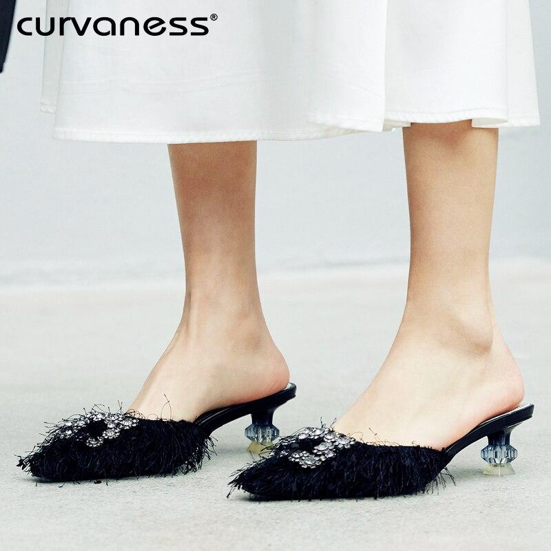 Curvaness femmes cristal boucle chaussures à talons bas pantoufles mme Crystal chaussures pointues pantoufles femmes en cuir chaussures de mariage