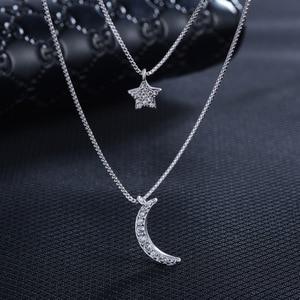 Сверкающее 925 пробы Серебряное ожерелье с Луной и звездой женские роскошные микро проложить CZ Neckless двухслойные цепи короткие Чокеры SN028