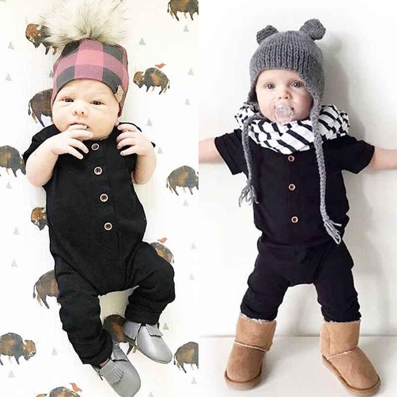 Pudcoco/хлопковый комбинезон для младенцев мальчиков девочек с коротким рукавом, Одноцветный цельный комбинезон на пуговицах, одежда для детей от 0 до 24 месяцев