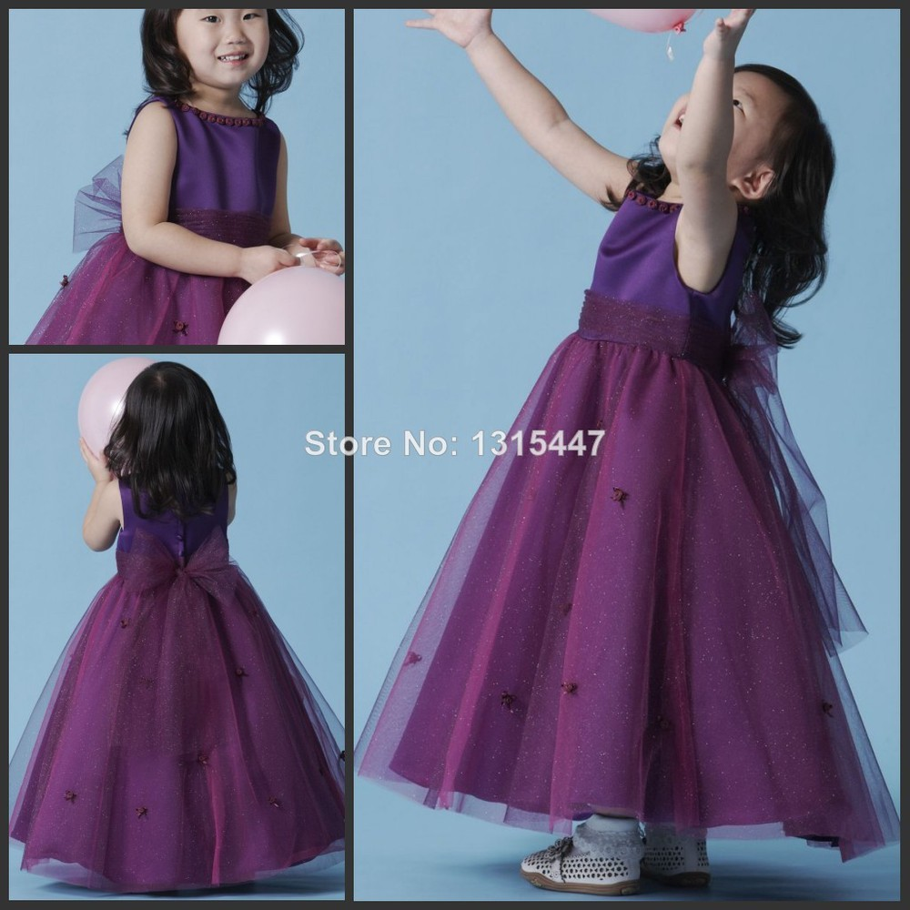 Flower girl dresses cadbury purple color