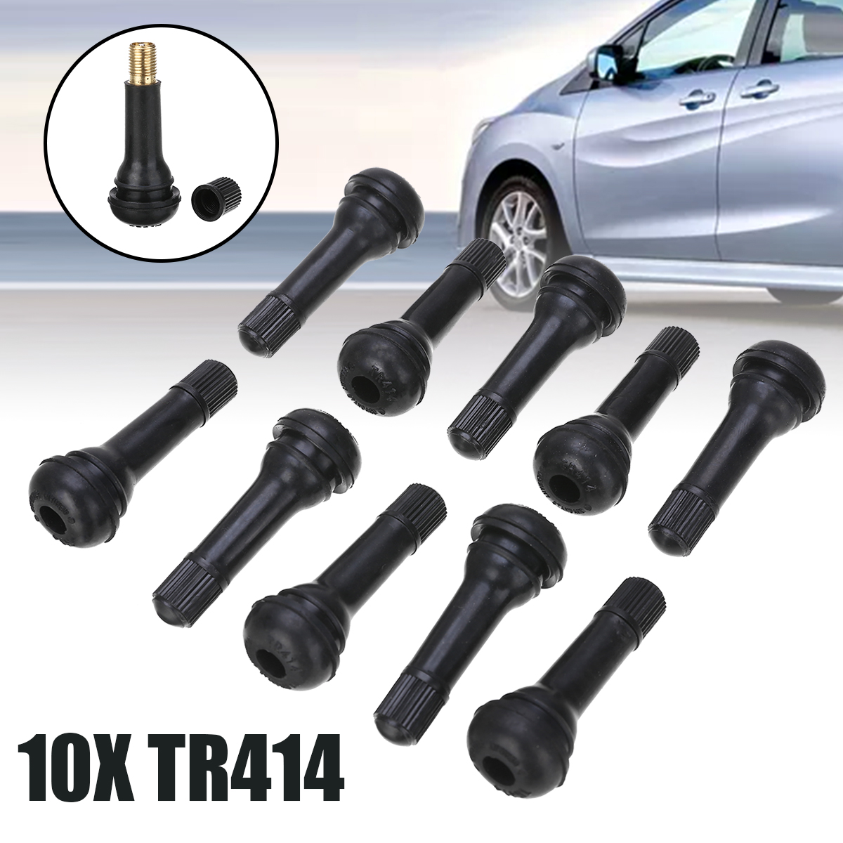 Wheels Tires Parts 10pcs TR414 Black Rubber Snap-in Car Wheel Tyre Tubeless Tire Tyre Valve Stems Dust Caps Car Auto Accessories