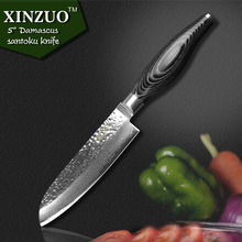 NEWEST XINZUO 5″ inch santoku knife 73 layers Damascus kitchen knife japanese VG10 chef knife Color wood handle free shipping